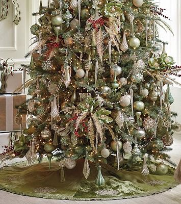 With a luxurious feel and finish, a Snowflake Tree Skirt generously complements a snowy and silvery decorating scheme.