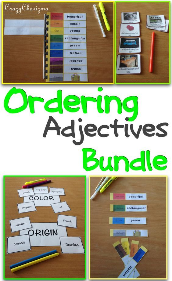 Adjective order activities and exercises Bundle. The bundle contains Ordering Adjectives spiral and Ordering Adjectives cards. These grammar activities middle school cards are suitable for ELA and ESL lessons (L.4.1.d). $ | CrazyCharizma at https://www.teacherspayteachers.com/Store/Crazycharizma