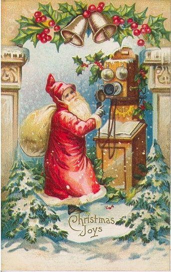 Vintage Christmas Joy card - Santa using an antique telephone.
