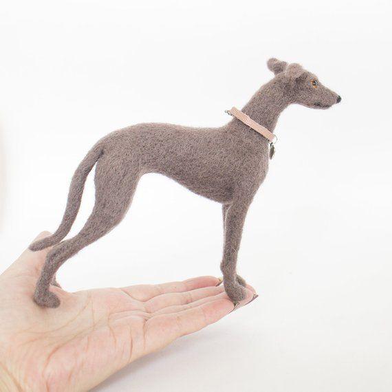 Needle felted 100/% wool doll Whippet  Greyhound  Italian greyhound  dog MINIATURE