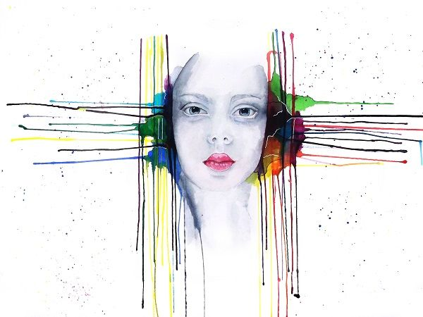 'Futility' Portrait painting by Guinevere Saunders Artist Watercolor and Ink on Illustration board 2014