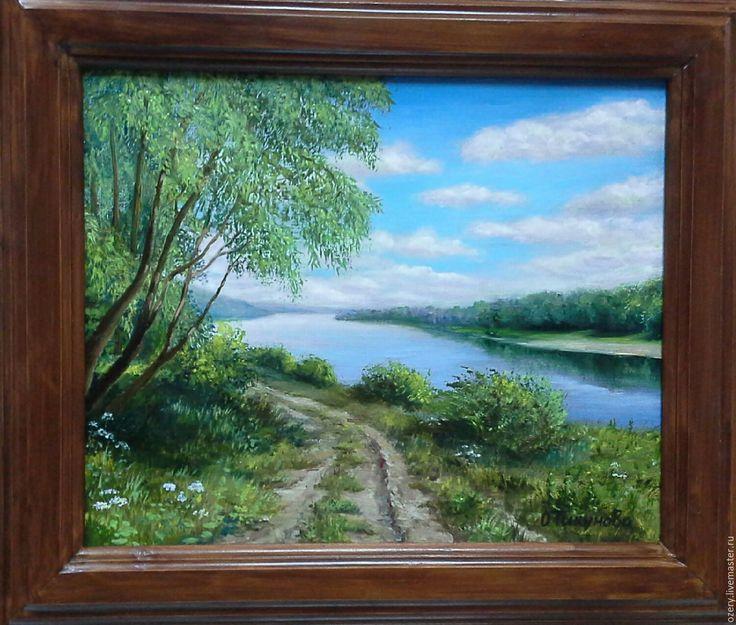"""Купить Картина маслом""""Вид на р.Ока""""пейзаж - картина маслом, картина для интерьера, картина в подарок"""