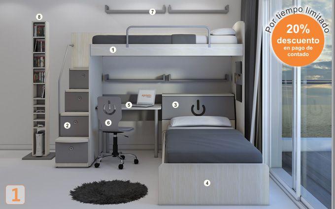 Mueble:  (Código A13) camas-marineras-varones  -  AGIOLETTO, Muebles Infantiles, Muebles Juveniles