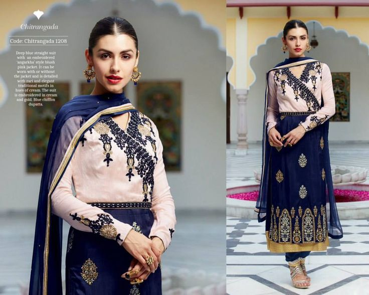 """""""Fabulous ethnic"""" <3 <3 Code: fabe kmnavy Price:6395/- Material: Semi-stitched/georgette/chiffon dupatta. For booking and further details pls call or whatsapp us at +919600639563 Happy shopping y'all :) Be Beautiful :)"""