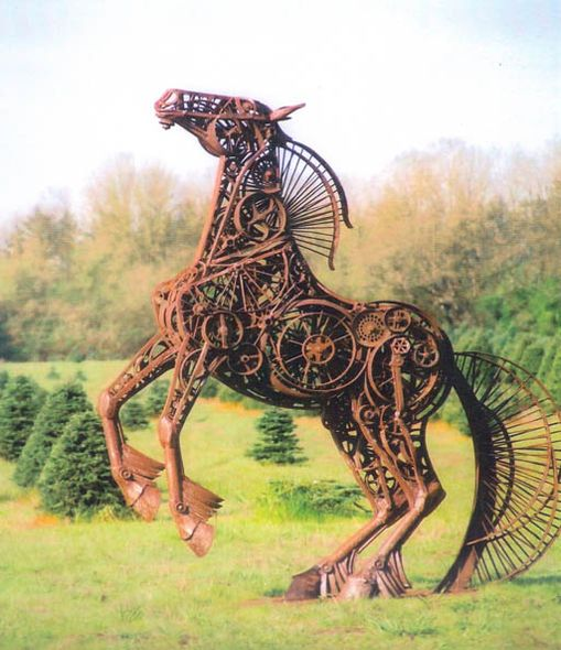 """Green Pastures: """"Sun Dancer"""" ~ Horse Sculpture created from steel and found objects, by Dixie Jewett. Lanning Gallery, Sedona, Arizona, USA."""