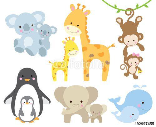 Vektor: Vector illustration of animal and baby including koalas, penguins, giraffes, monkeys, elephants, whales.