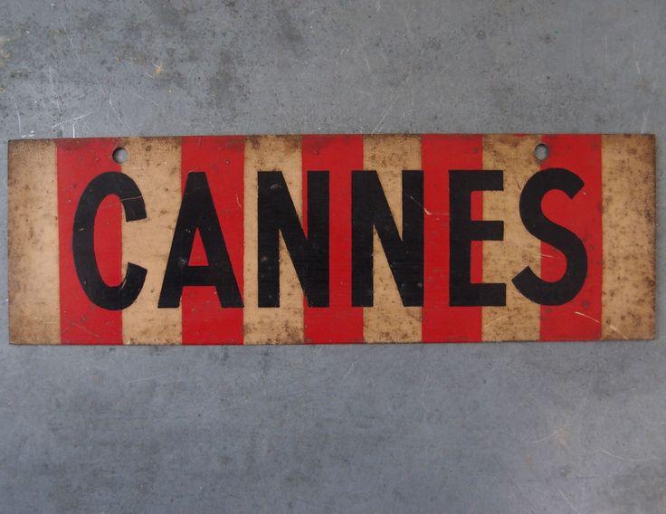 RARE ANCIEN PLAQUE PANNEAU RESULTAT SPORTIF TOLE PEINTE CLUB FOOTBALL AS Cannes