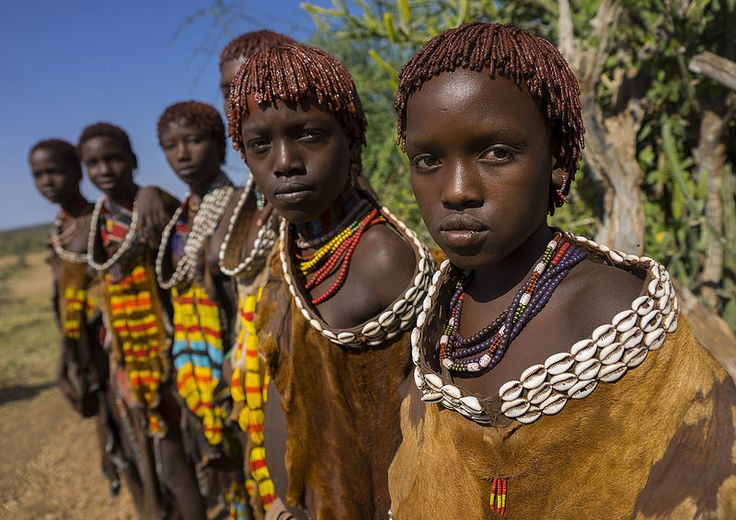 Girls Of The Hamer Tribe, In Traditional Outfit, Turmi ...