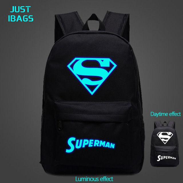 Nylon casual backpacks impression Female Superman Cartoon backpacks Girls  Boy Bright Light Colorful Laptop Backpack Book Bag