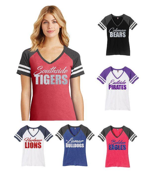 Ladies Glitter V-Neck Game Day Tee School Spirit Shirt Custom Names Any Text Any…