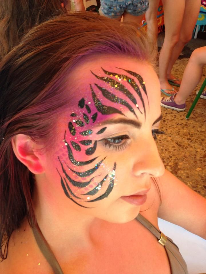 https://instagram.com/hd_bodypaint/ The Zoo Project Ibiza Face Paint #animal #stripes #glitter #summer #hen #party #ideas
