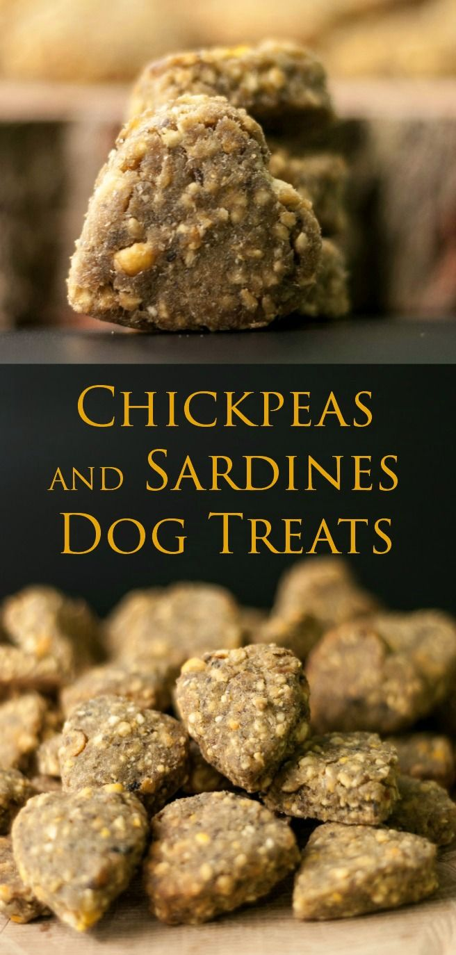 Chickpeas and Sardines Dog Treats! Super quick and easy to prepare, these doggie treats only use three ingredient yet they are very nutritious and super tasty, so I am absolutely sure your pooch will love them.