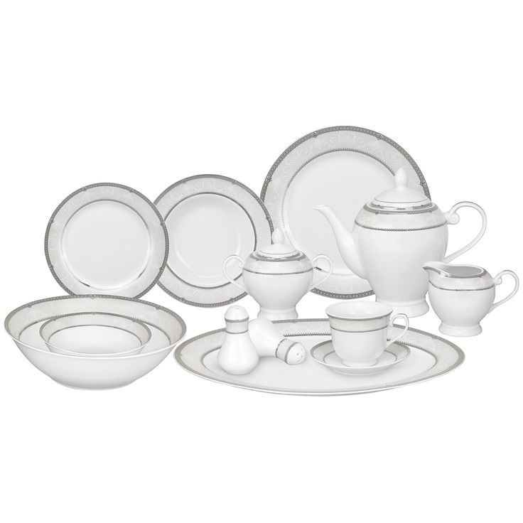 Lorren Home Trends 57-piece Porcelain Dinnerware Set with Silver Accent - Overstock™ Shopping  sc 1 st  Pinterest & 7 best Dinnerware images on Pinterest | Place settings Tablescapes ...