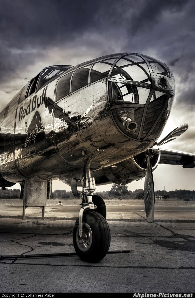 North American B25 Mitchell ~ used by many Allied air forces, in every theater of World War II. (Modern Red Bull logo)