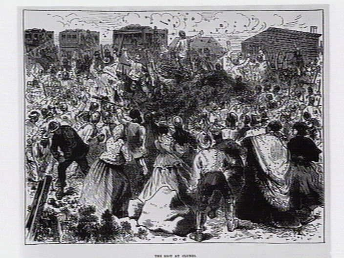 The riot at Clunes. [picture] , State Library of Victoria
