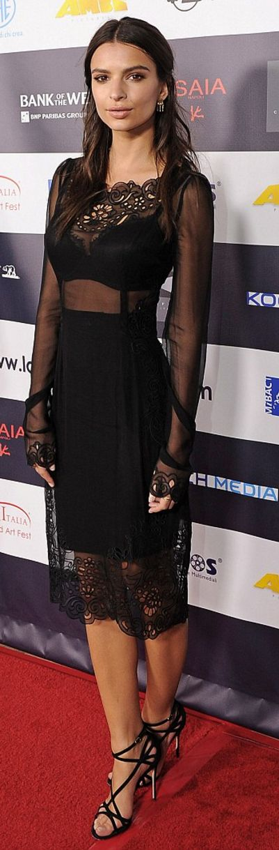 Who made Emily Ratajkowski's mesh lace dress and sandals?