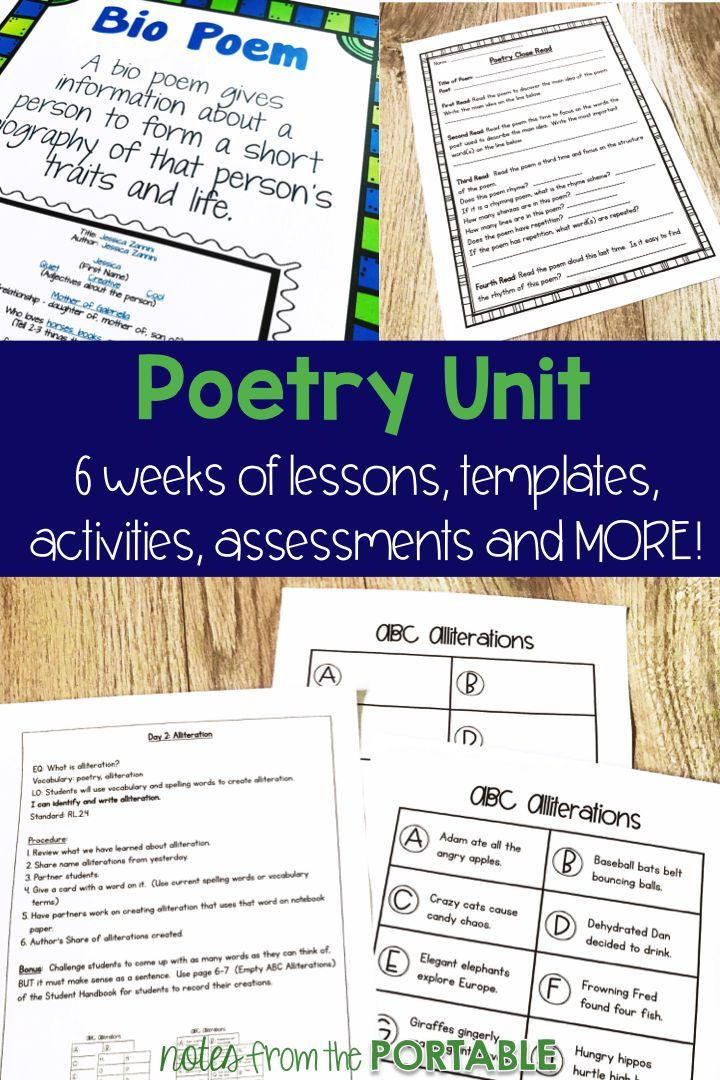 Love this poetry unit! has everything I need - lesson plans, anchor