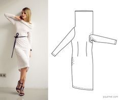 Cowl neck dress pattern (NOT a tutorial) - drape-side armhole is cut LOWER than the other side!!!