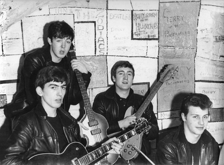 Paul McCartney, George Harrison, John Lennon and Pete Best, The Cavern Club, Liverpool, England.