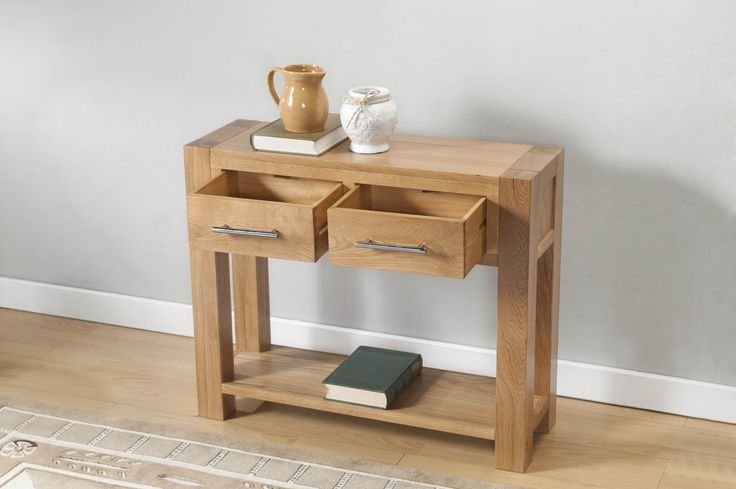 Birstall Oak Interior Furniture Modern Large Console Table with 2 Drawers and Shelf