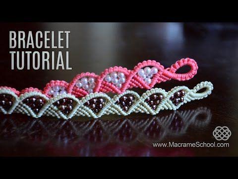 macramè - bracciale ondulato con perline