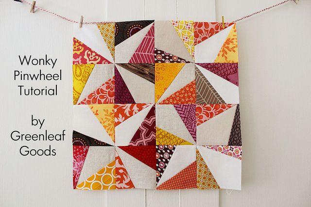 Wonky Pinwheel Tutorial by greenleaf goods, via Flickr