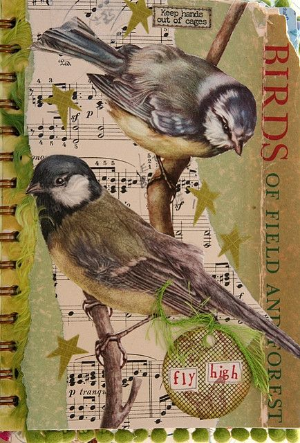 'Secrets of the Nest' altered book at flickr: too sunny (go to see many more inspiring pages)