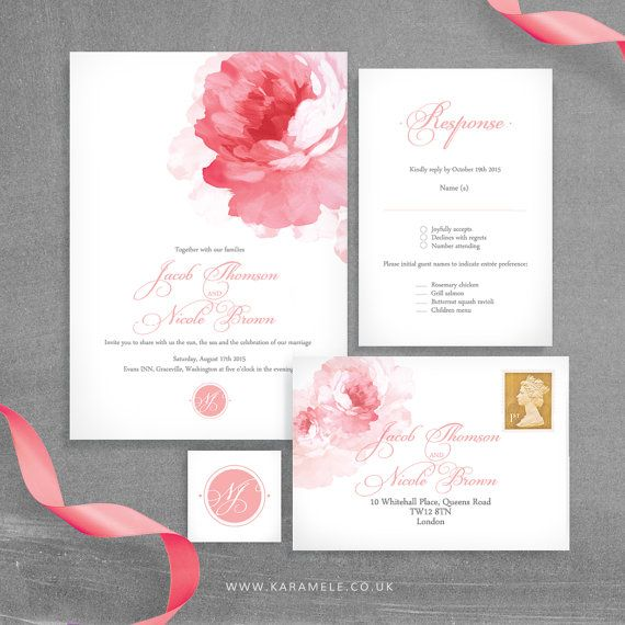 Painted Peony Wedding Invitation and RSVP postcard by KarameleShop