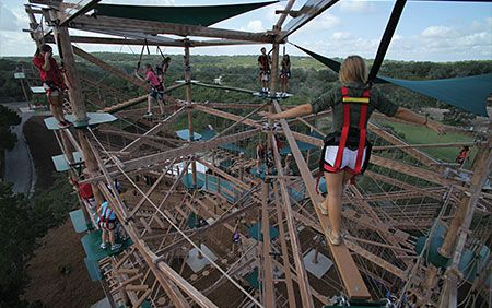 The Canopy Challenge at Natural Bridge Caverns is a four level challenge course with zip lines!