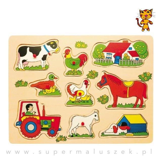Drewniane puzzle to świetny pomysł na zabawę i naukę w jednym. Bawiąc się, dziecko może uczyć się kolorów, kształtów, nazw i odgłosów. #fun #farm #animals #child #gift #prezent #dziecko #zabawa #puzzle