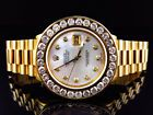 Excellent Mens Presidential Style Rolex Datejust with XL 7.2 Ct Diamond Bezel