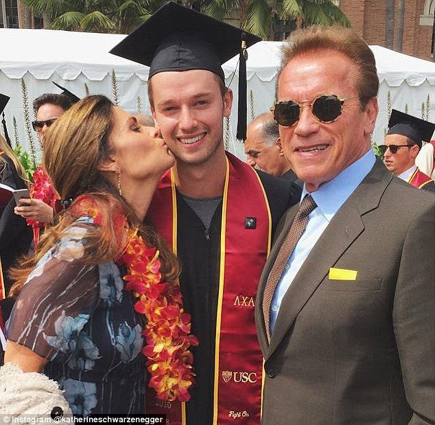 Arnold Schwarzenegger (right) and Maria Shriver (left) may have split in 2011, but the two put on a united front when they attended their son Patrick Schwarzenegger (center) college graduation on Friday