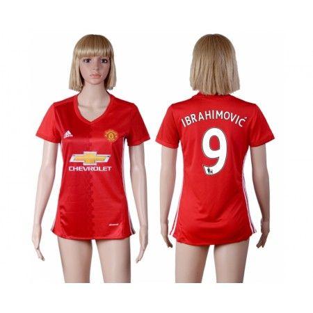 Manchester United Fotbollskläder Kvinnor 16-17 Zlatan #Ibrahimovic 9 Hemmatröja Kortärmad,259,28KR,shirtshopservice@gmail.com