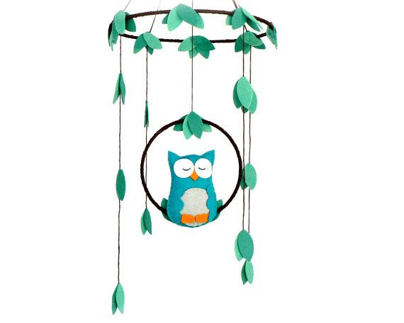 Owl mobile - woodland - Nursery baby mobile - You pick your colors - Felt green, peacock, gray, tangerine owl - Nursery decor