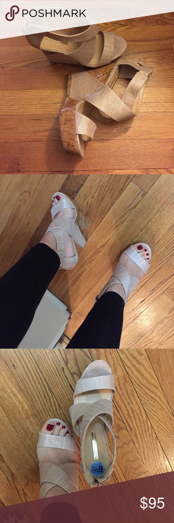 BCBGEneration platform wedge sandal Platform wedges zipper back 6.5! Great summer time shoe. Neutral color BCBGeneration Shoes Wedges