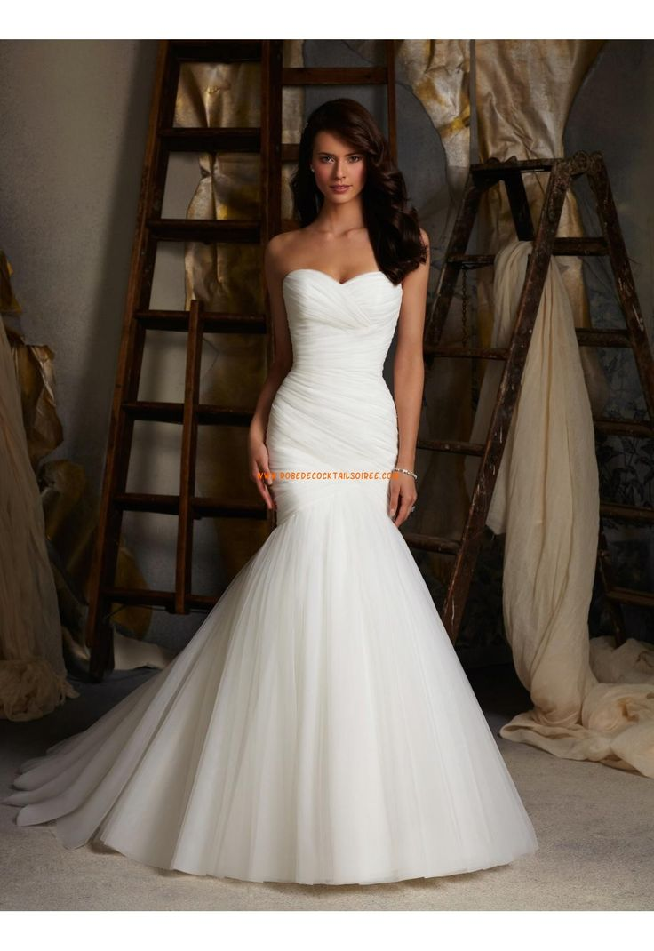 Robe de mariée Fourreau Tulle Traine Courte Luxueux Col En Coeur2015
