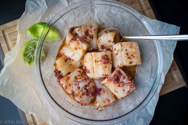 Atlantic cod in chipotle-lime and red onion marinade