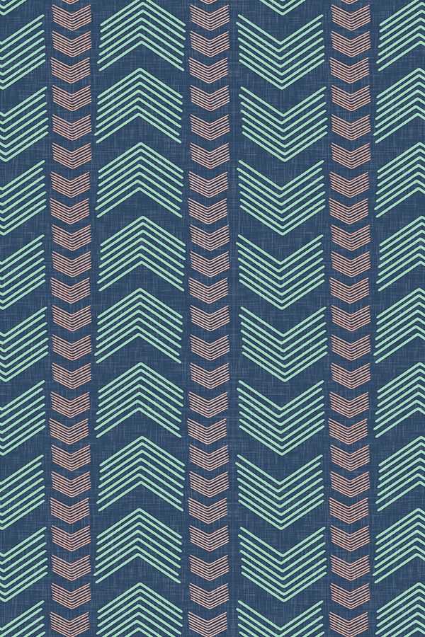 We love this Herringbone Stripe in Navy Mint and Coral by Willow Lane Textiles!  Click to get this pattern on fabric, wallpaper, or gift wrap!
