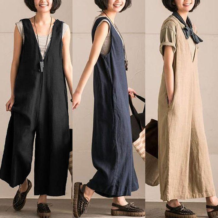 L-5XL Vintage Women Sleeveless Cotton Jumpsuits