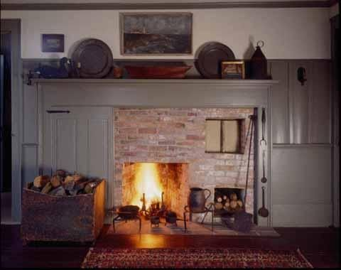 Colonial Kitchen Fireplace Design