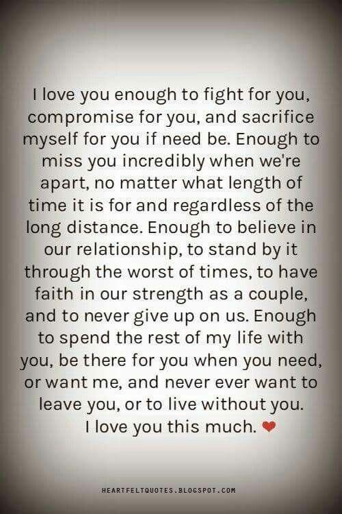 I love you enough......