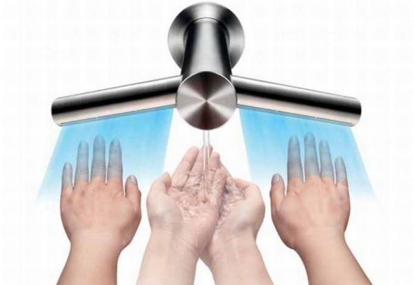 Dyson's Airblade Tap combines hand dryer with the faucet. Price: £1,000