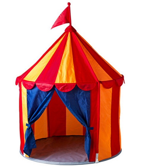 Circus tent for your little clown!  This Ikea Circus tent is great.  My little one loves his.  Ethan sits in it on his own and closes the curtains & reads books.  He shares a bedroom with big bro so it's HIS OWN space.  In the winter we bring it indoors so he still has his own space!