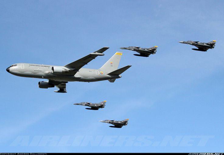 Colombian Air Force Boeing KC-767 refueling IAI Kfir C.10 and TC.12 Block 60s