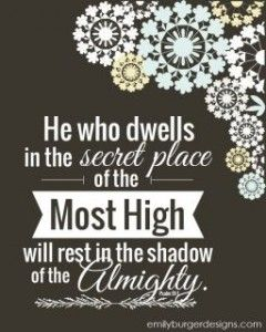 """Psalms 91:1 (KJV) """"He that dwelleth in the secret place of the most High shall abide under the shadow of the Almighty."""""""