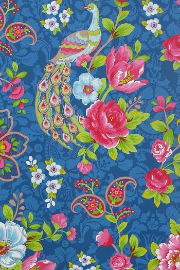 'Flowers in the Mix,' Dark Blue Wallpaper, Through Pip Studio.