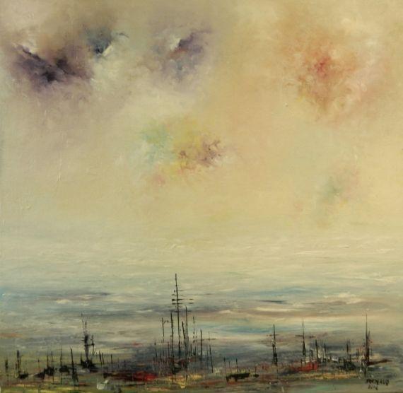 TABLEAU PEINTURE mer iles kerguelen Marine Peinture a l'huile  - Aux Iles Kerguelen