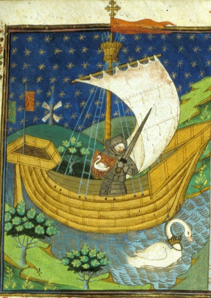 A knight in a boat drawn by a swan (f°273). -- Poems and Romances (the 'Talbot Shrewsbury book'), by the Talbot Master, Rouen (France), 1444-1445 [BL Ms Royal 15 E VI].