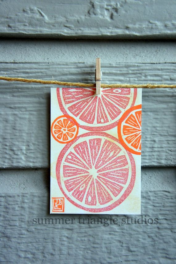 Linocut pink grapefruit slices - original print ACEO