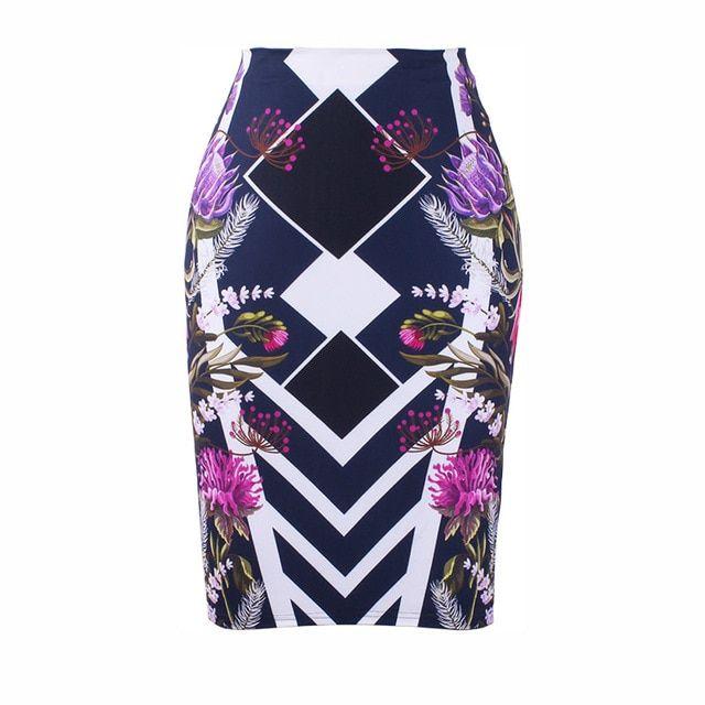 S4xl pencil skirt gorgeous blooming rose flower print women midi bottoms big siz…